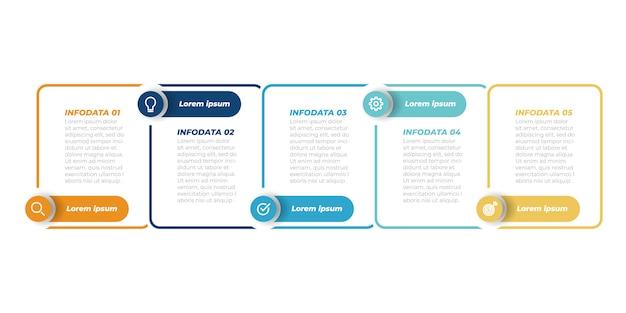 ビジネスインフォグラフィックテンプレート。ラベルと5つのステップ、オプション、正方形のある細い線のデザイン。ベクター要素。 Premiumベクター