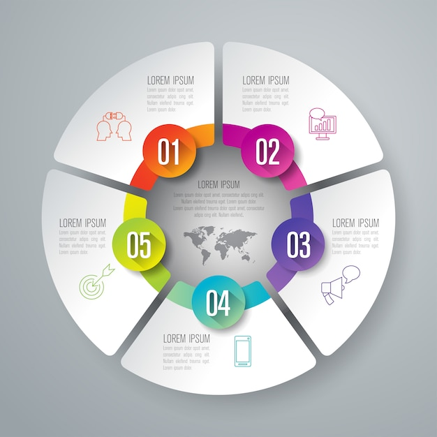 プレゼンテーションのための5つのステップビジネスインフォグラフィック要素 Premiumベクター