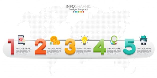 5つのステップを持つカラフルな現代タイムラインインフォグラフィックテンプレート。 Premiumベクター