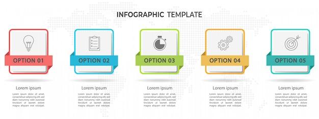 モダンなタイムラインインフォグラフィック5オプション。 Premiumベクター