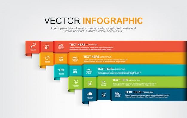 5つのオプションを持つインフォグラフィック要素デザイン Premiumベクター