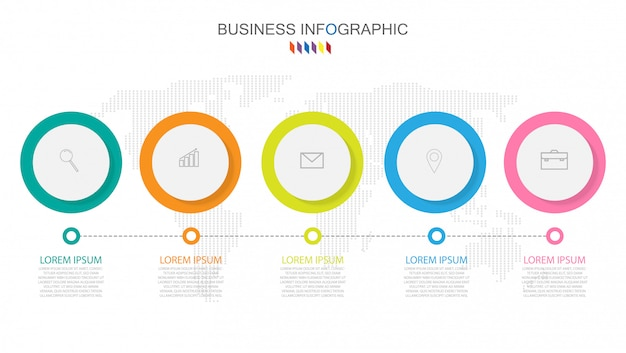 Шаблон бизнес инфографики концепция 5 полноцветный вариант. Premium векторы