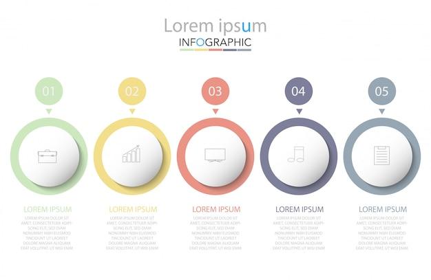 最小限のタイムラインサークルインフォグラフィックテンプレート5つのオプションまたは手順。 Premiumベクター