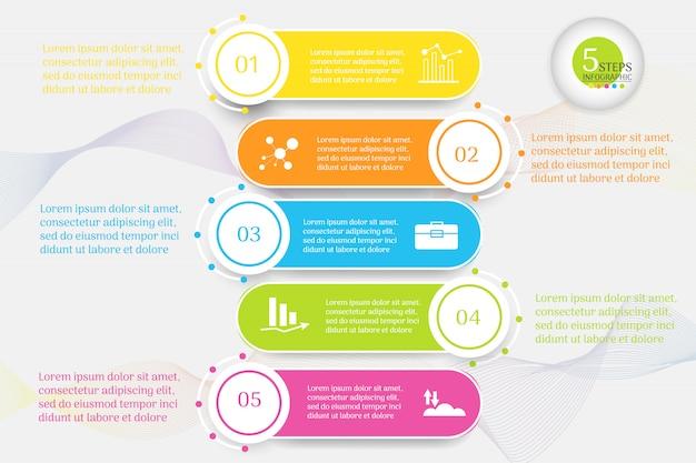 デザインビジネステンプレート5オプションインフォグラフィックグラフ要素。 Premiumベクター