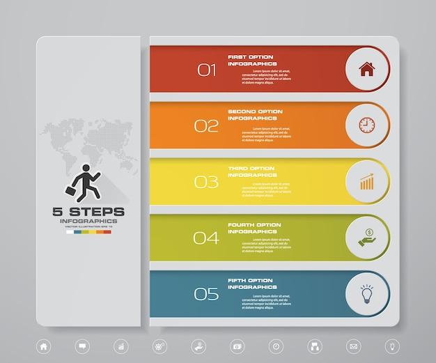 Инфографический дизайн с 5-ступенчатой диаграммой. Premium векторы
