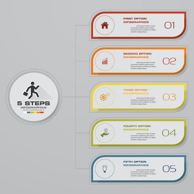 プレゼンテーションのための5つのステップタイムラインのインフォグラフィックデザイン。 Premiumベクター
