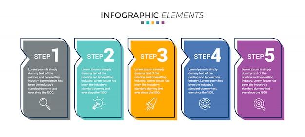 5つのオプションまたは手順を持つベクトルインフォグラフィックデザインテンプレート Premiumベクター