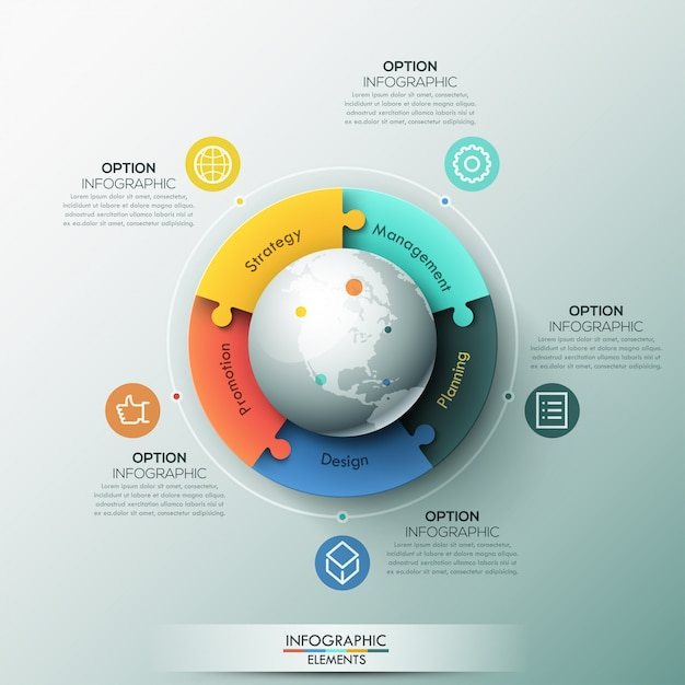 Инфографический шаблон, 5 соединенных частей мозаики, расположенных вокруг земного шара Premium векторы