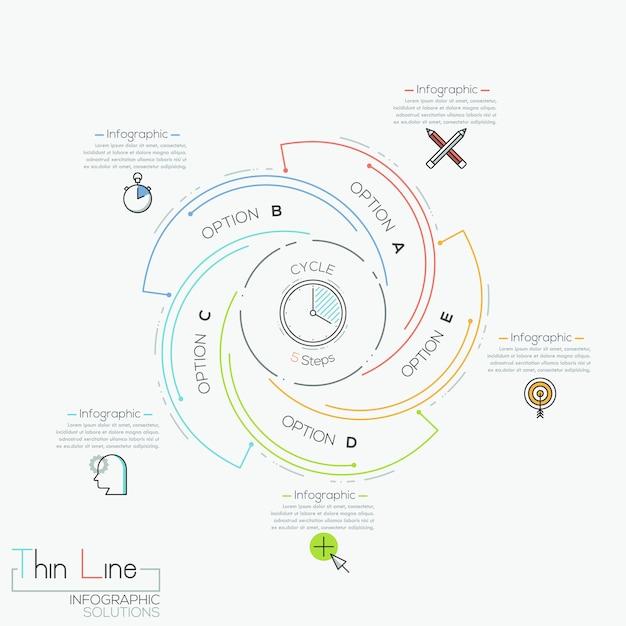 Круговая инфографика с 5 спиральными буквами Premium векторы