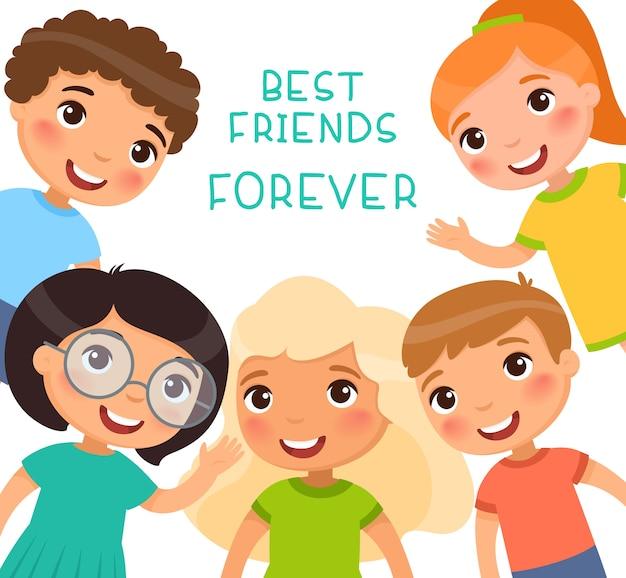 永遠の親友。フレーム内の5人の子供が笑顔で手を振っています。友情の日または子供の日。面白い漫画のキャラクター。図。白い背景で隔離 無料ベクター