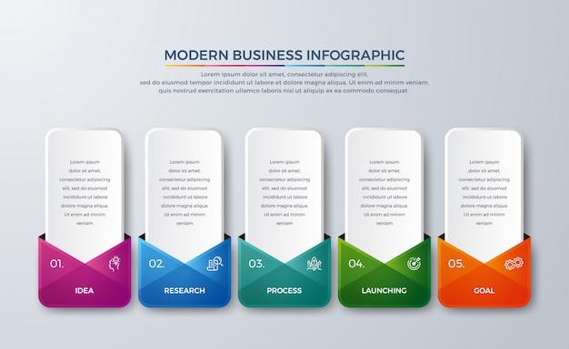 5 шагов инфографики элемент дизайна с другим цветом градиента Premium векторы