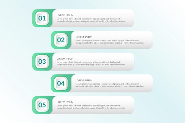 5つのリスト情報を持つインフォグラフィックデザインをリストする Premiumベクター