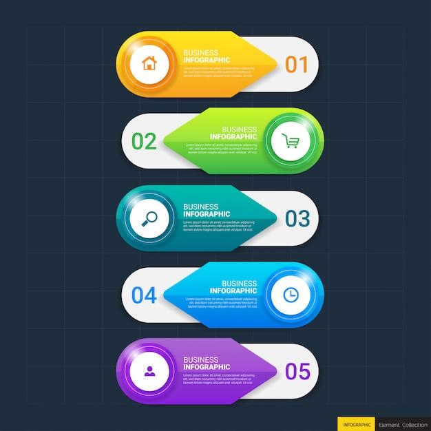 5つのステップを持つビジネスインフォグラフィックテンプレート Premiumベクター