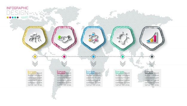 5つのステップを持つ五角形ラベルインフォグラフィック。 Premiumベクター