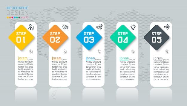 5つのステップを持つビジネスインフォグラフィック。 Premiumベクター