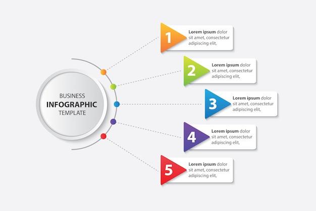 Презентация бизнес инфографики шаблон с 5 шагов вектора Premium векторы