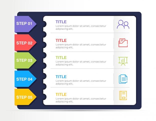 Современный бизнес инфографики с 5 шагов Premium векторы