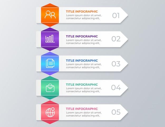 現代のビジネスインフォグラフィック5つのステップ Premiumベクター