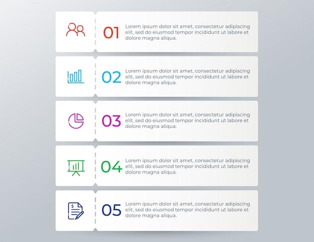 5つのオプションの手順を持つ近代的なビジネスインフォグラフィック Premiumベクター