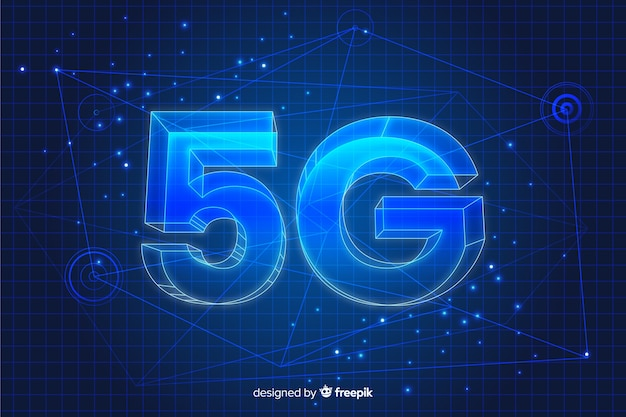 5g concept in 3d background Free Vector