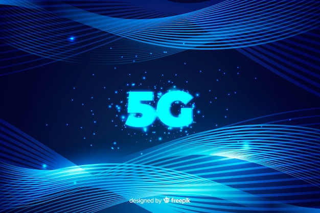 5g concept background and curved lines Free Vector