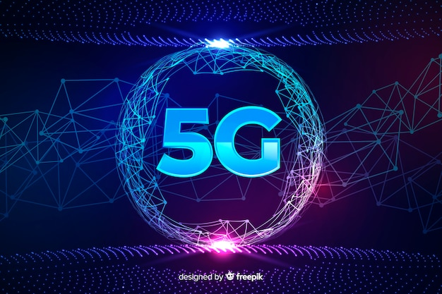 5g concept background in a rounded shape Free Vector
