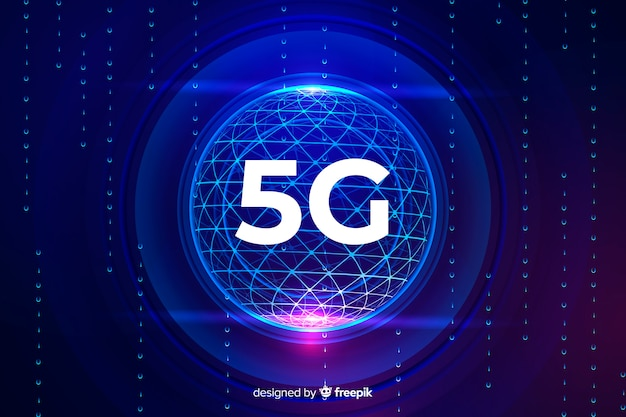 5g concept background in a technological sphere Free Vector
