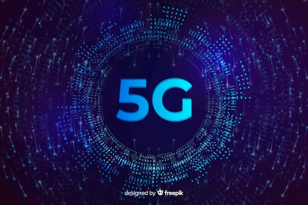 5g concept background in a vinyl round shape Free Vector