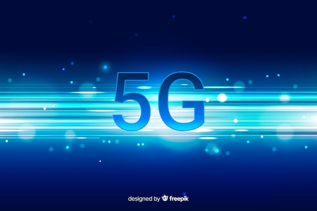5g concept background with gradient horizontal lines Free Vector