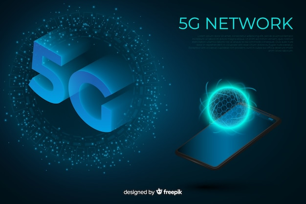 5g concept background with isometric design Free Vector