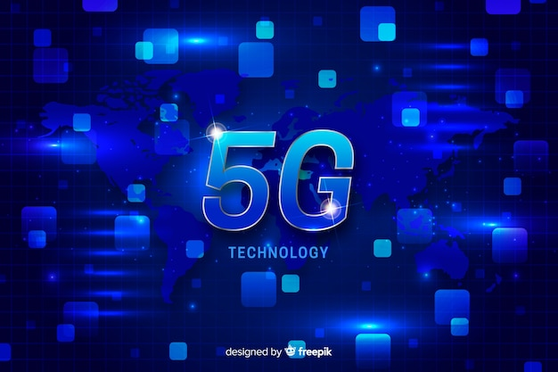 5g concept background with world map Free Vector