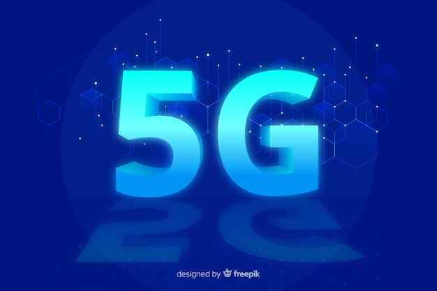 5g concept blue background Free Vector