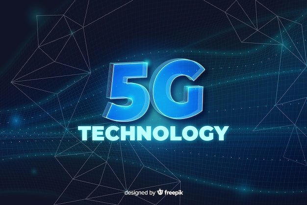 5g concept lettering background Free Vector