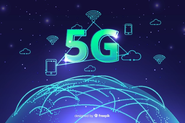 5g concept with icons background Free Vector