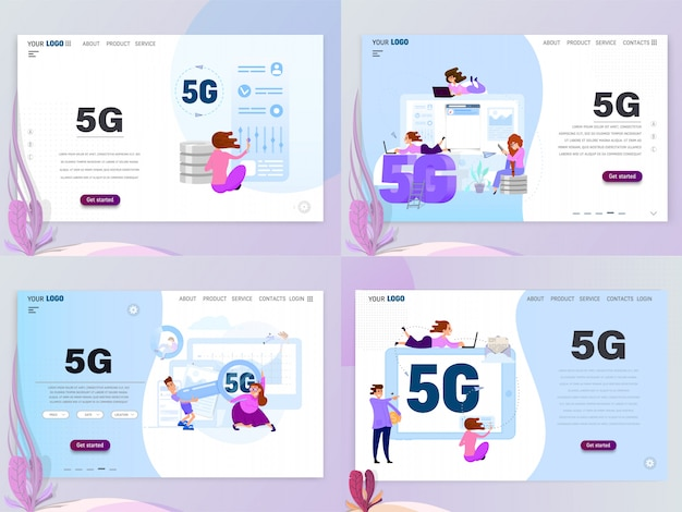 5g connected concept with characters, landing page template, flat style. isolated objects Premium Vector