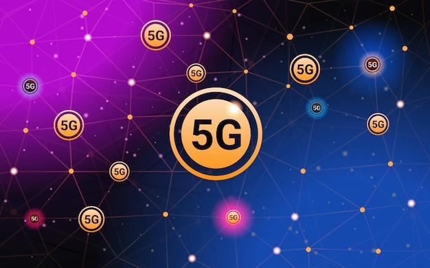 5 gデジタルワイヤレスシステム接続グローバルネットワークコンセプト高速インターネット抽象的な技術背景水平バナーの5番目の革新的な世代 Premiumベクター