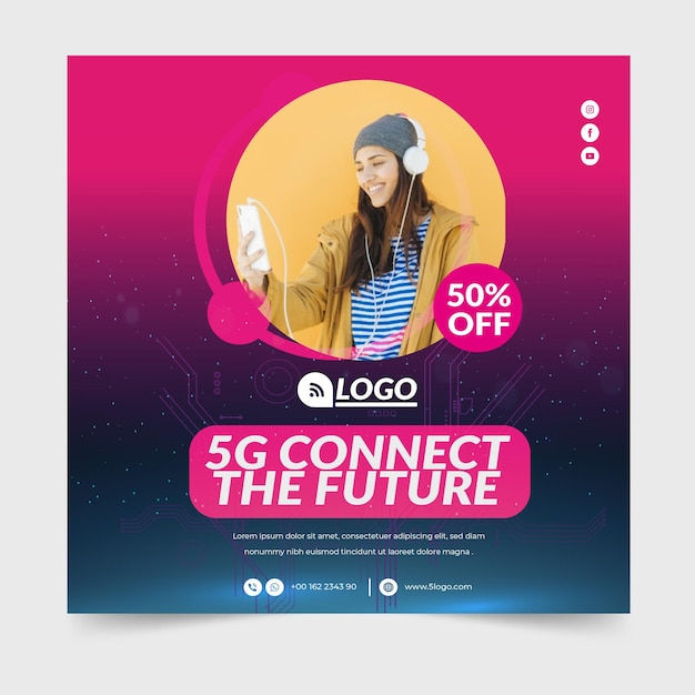 5g flyer square concept Free Vector