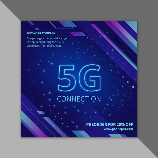 5g flyer template Free Vector