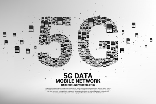5g from mobile sim card networking Premium Vector