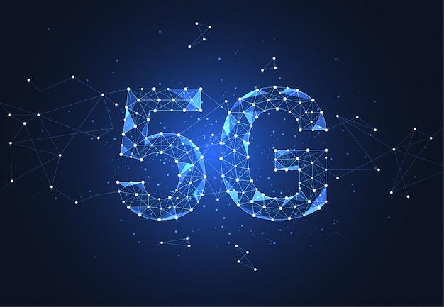 5g подключение к глобальной сети. многоугольник соединяет точку и линию Premium векторы