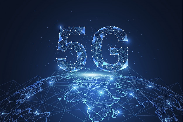 5gグローバルネットワーク接続。ポリゴン接続点と線 Premiumベクター