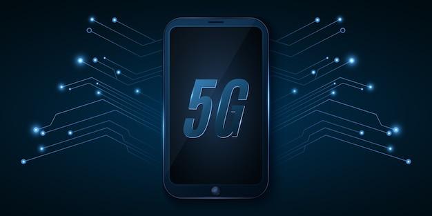 5gグローバルネットワーク。ハイテクデザイン。高速インターネットを備えた最新のスマートフォン。ネオンコンピューター回路基板。 Premiumベクター