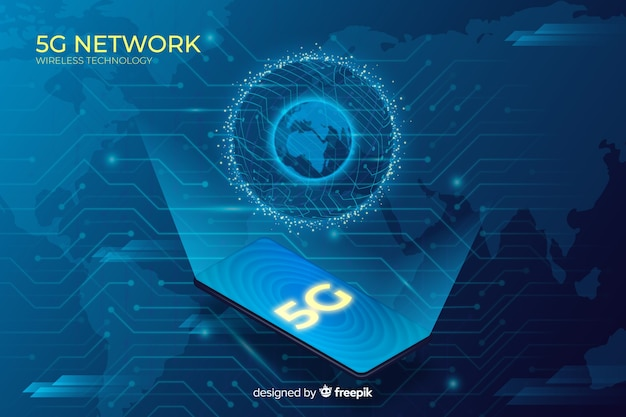 5g globe concept background with isometric design Free Vector