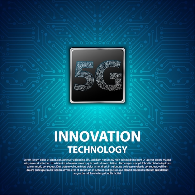 5g innovation technology with circuit board is background Premium Vector
