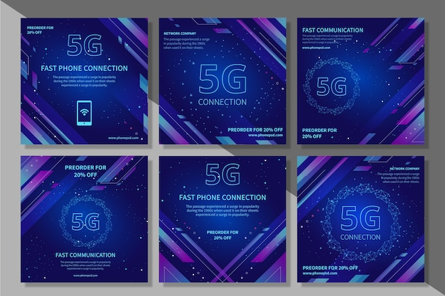 5g instagram post collection Free Vector