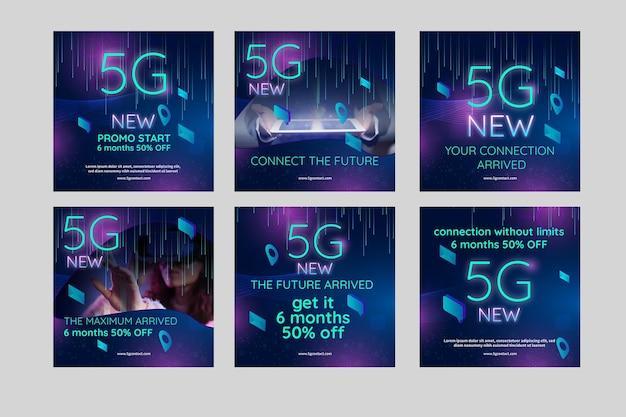 5g instagram posts concept Free Vector