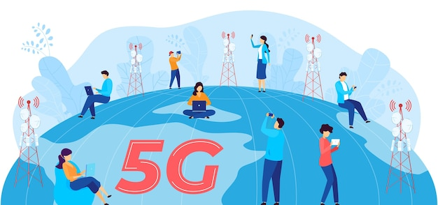 5 gインターネット通信ベクトルイラスト。 5gネットワークワイヤレステクノロジーを使用して通信するモバイルデバイスと漫画のフラット男性女性ユーザーキャラクター Premiumベクター