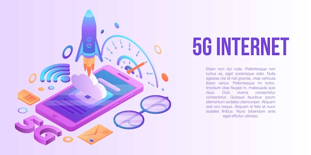 5g internet concept banner, isometric style Premium Vector