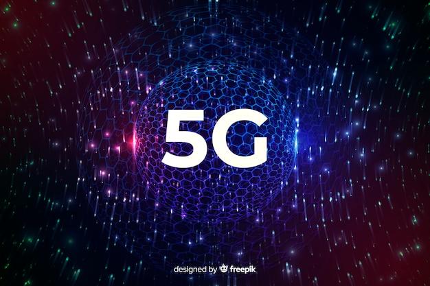 ディスコグローブと5 gインターネット接続の概念の背景 無料ベクター