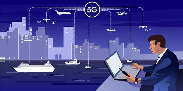 5gは、市民通信インフラストラクチャとしての第5世代のワイヤレステクノロジーデジタルセルラーです。 Premiumベクター